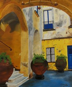 "Oil painting titled ""Capri, Italy"", done on a 20"" x 24"" x 1.5"" canvas. SOLD"