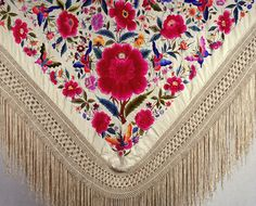 Beautiful BOHO --- Floral Embroidered Fringed Shawl Wrap