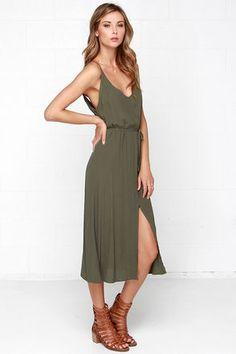 Cute Olive Green Dress - Sleeveless Dress - Midi Dress - $57.00