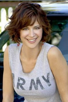 """Catherine Bell, """"Army Wives"""", 2007 - present Short Curly Hair, Short Hair Cuts, Curly Hair Styles, Beautiful Celebrities, Beautiful Actresses, Katherine Bell, Lisa Bell, Hot Brunette, Hair Beauty"""