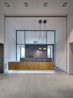 office Reception Ideas - A Look Inside Archimatika's Modern Kiev Office. Modern Reception Area, Reception Counter Design, Office Reception Design, Modern Office Design, Dental Office Design, Office Interior Design, Office Interiors, Reception Desks, Modern Offices