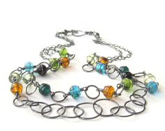 wire wrapped necklace with metalwork fine and by theBeadAerie, $175.00