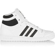 adidas Originals Top Ten textured-leather high-top sneakers found on Polyvore featuring shoes, sneakers, zapatillas, white, lace up high top sneakers, retro sneakers, white high tops, retro shoes and white trainers