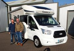 Jonathan & Julian from Tenterden are pictured taking delivery of the very first Chausson TITANIUM 767 Ga Motorhome. The Titanium 767 GA has a terrific standard specification and is a brand new addition to the Chausson 2019 range of Motorhomes. Garage Lockers, Hideaway Bed, Motorhome, Recreational Vehicles, Delivery, Range, Pull Out Bed, Rv, Stove