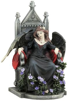 Female Gothic Angel Sitting On A Throne Art Statue  Figurines -Sculpture available at AllSculptures.com