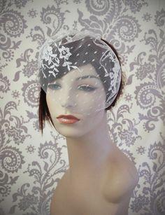 Lace Birdcage Veil w/ Polka Dots Satin by januaryrosebridal