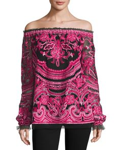 Embroidered+Off-the-Shoulder+Long-Sleeve+Blouse,+Black/Fuchsia+by+Naeem+Khan+at+Neiman+Marcus.