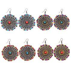 1 Pair Vintage Bohemian Style Pierced Round Colorful Beads Charm Dangle Earrings #Handmade #DropDangle