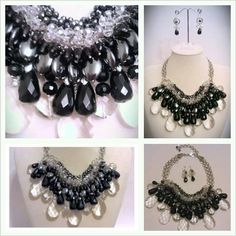 Love these gemstones & crystal together...clear quartz, smoky quartz, hematite, black onyx, rich & lustrous stones with the added sparkle of the precision-cut crystal! Graduated Bib Style, entirely hand-pieced & drapes beautifully!:). Matching drop earrings with black onyx, quartz & crystal, SS earwires.