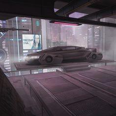 Cyberpunk hover car, Adrian Marc on ArtStation at https://www.artstation.com/artwork/Pn5XZ