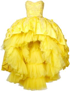 Luxury Belle ballgown from beauty and the beast by Mikael D. strapless hi-low gown perfect for wedding or prom