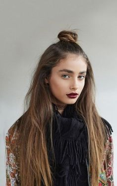 long hair with small top knot