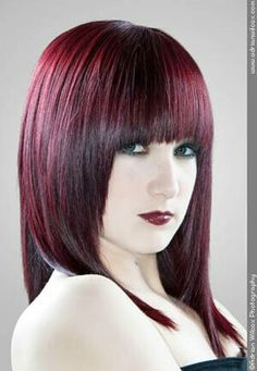 Straight Red With Fringe Hairstyle Haircut For Ladies