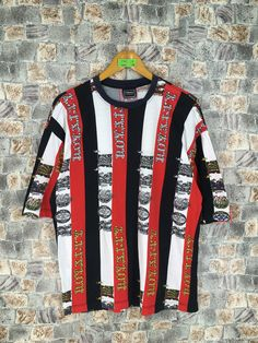 Excited to share this item from my shop: Vintage Versace Italy Stripes Tshirt Large Versace Jeans Couture Pop Art Royalty Baroque Luxury Versace Multicolor Tees Size L Versace Jeans Shirt, Versace Jeans Couture, Army Coat, Vintage Versace, Versus Versace, Striped Tee, Baroque, Pop Art, Luxury Fashion