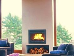 New Homes, House, Living Room, Fireplaces, Inspiration, Home Decor, Ideas, Outside Wood Stove, Minimalist Home