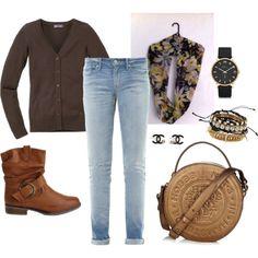 "08-02-2014 Saterday ""Bruin vest met boy friend jeans"" by kaatje60 on Polyvore"