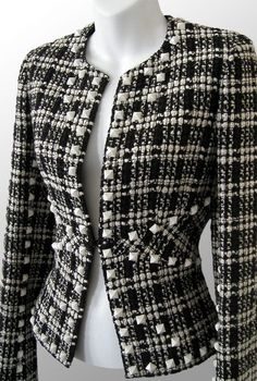 ChanelPyramidStudBoucleJacket -cotton/wool/chashmere/metal/poly blend, with stretch silk lining. Chanel Fashion, Couture Fashion, Chanel Style Jacket, Armani Suits, Blazer, Wool, Silk, Sweaters, Cotton