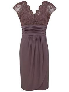 Alexon Lace Top Dress, Light Brown