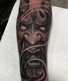 Mask Japanese, Japanese Mask Tattoo, Japanese Tattoo Designs, Japanese Sleeve Tattoos, Mascara Samurai Tattoo, Tattoo Mascara, Yakuza Tattoo, Hanya Mask Tattoo, Inspiration Tattoo