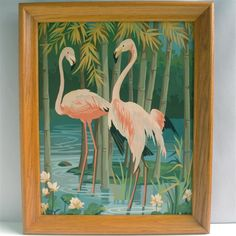 1958 Pink Flamingo Paint by Number Painting Tropical Tiki Mid Century Large   eBay