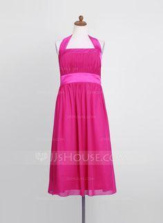Junior Bridesmaid Dresses - $98.99 - Empire Halter Tea-Length Chiffon Charmeuse Junior Bridesmaid Dress With Ruffle (009022494) http://jjshouse.com/Empire-Halter-Tea-Length-Chiffon-Charmeuse-Junior-Bridesmaid-Dress-With-Ruffle-009022494-g22494
