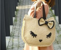 crochet cat bagraffia bagsummer totecat kitty bag by BusyPaws, $72.00