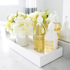 guest Bathroom Decor {…adding the accents} This is a cute idea for the upstairs bath staging. Bathroom Staging, Bathroom Ideas, Simple Bathroom, Bathroom Hacks, Downstairs Bathroom, Bathroom Storage, Modern Bathroom, Bathroom Trays, Bathroom Counter Decor