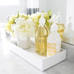 Bathroom decor with pops of yellow