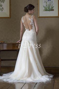 Sheer Back Sleeveless Embroidered Lace Stunning Trumpet Wedding Dress Illusion Neck Wedding Dresses Nz, Wedding Dressses, Tulle Wedding, Cheap Wedding Dress, Bridal Dresses, Prom Dresses, Mermaid Wedding, Illusion Dress, Bridal 2015