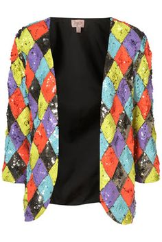 Sequins, brights and blocks. Thank you Top Shop. Would pair great with monocromatic greys and whites for spring.