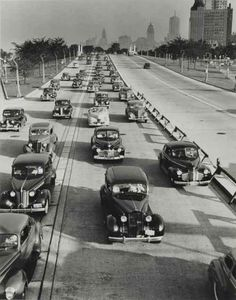 Freeways were originally made for the military to get from one point to the next faster. It shortly became the path of transportation for the growing number of cars that overcrowded the small streets. (Lake Shore Drive, Chicago 1944)