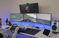 🌟 Before you buy gaming desk, figure out all about gaming desk series in here, this is one of the recent most ultimate desk for gamers. Computer Gaming Room, Best Gaming Setup, Computer Desk Setup, Gaming Room Setup, Pc Setup, Office Setup, Gaming Rooms, Computer Technology, Monitor