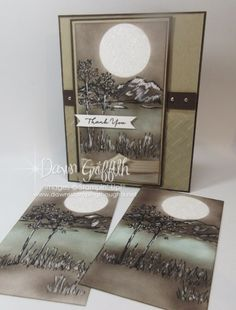Hi Stampers, Today we will be making the mountain scene That I made on this card I posted a couple weeks ago . I have had so many requests to show you how I made it so today we will be just making tha