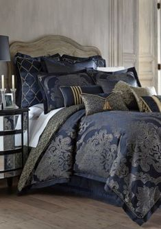 Add a royal touch to your bedroom with the opulent Waterford Linens Vaughn Reversible Comforter Set. In deep sapphire and gold hues, the beautiful bedding uses its striking over-scaled damask to bring a rich and deep look to your bed. Navy Comforter, Queen Comforter Sets, Bedding Sets, Damask Bedding, Blue Bedding, Waterford Bedding, Queen Bed Comforters, Bedding Inspiration, Bedroom Decor