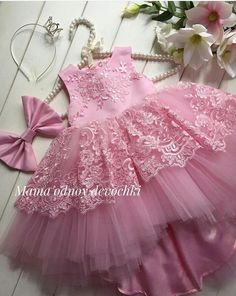 Pink, for Shanaya. Kids Party Wear Dresses, Baby Girl Party Dresses, Birthday Dresses, Little Girl Dresses, Girls Dresses, Flower Girl Dresses, Kids Frocks, Frocks For Girls, Baby Frocks Designs