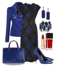 """""""Black & Blue"""" by gracekathryn ❤ liked on Polyvore featuring Alexander McQueen, McQ by Alexander McQueen, Miu Miu, Yves Saint Laurent, Valextra, Armenta, Kate Spade and Tom Ford"""