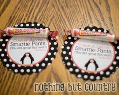 Penguin Smartie Pants Treat (printable) - cute and free end of year tag: