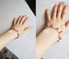 Strawberry raspberry berry bracelet Fruit jewelry by TheJewelSaga