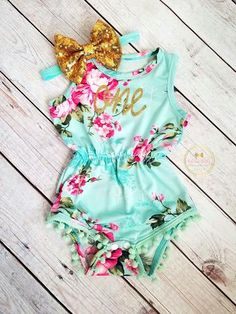PRE ORDER Mint Pink Gold Floral Pom Pom Romper First Birthday Outfit Girl