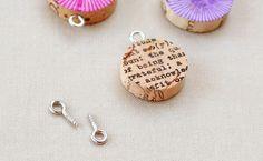 Upcycled wine cork pendants. Jewelry badge possibility.