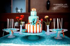 Great color theme for boy baby shower.  www.spaceshipsandlaserbeams.com