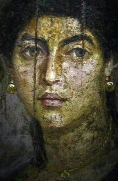 A female portrait on wood panel from Hawara, a site near the Fayum oasis, Roman Egypt, AD. Rome Antique, Art Antique, Ancient Egyptian Art, Ancient Rome, Egyptian Mythology, Egyptian Goddess, Ancient Aliens, Roman History, Art History