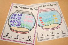 Mrs. Ricca's Kindergarten: Use goldfish crackers, model addition stories and write equations. Draw an addition problem in the fish bowl picture.
