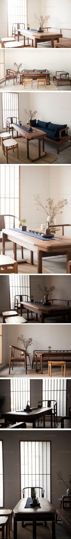 【春沐家】原创设计新中式茶台 茶几 现代中式茶台 黑胡桃茶台-淘宝网