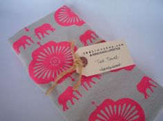 Elephants Screen Printed Hemp Tea Towel  Bright by Thelimeshop