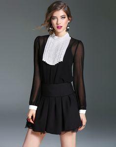 #AdoreWe #VIPme Blouses & Shirts - mojaser Black Silk Paneled Stand Collar Elegant Blouse - AdoreWe.com
