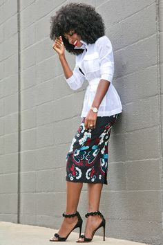Military Inspired Voile Shirt + Garland Print Pencil Skirt Style Pantry waysify