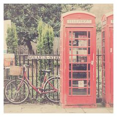 england photograph, red, telephone box photograph, bicycle, bike, cambridge, english, phone box, color photography