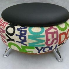 Recycled Furniture: Ideas Chairs, Ottoman And Tables Made From Tires - Home & Decor Tire Furniture, Recycled Furniture, Home Decor Furniture, Furniture Makeover, Furniture Stores, Tire Ottoman, Chair And Ottoman, Armchair, Tire Craft