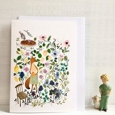Hello! This is Woodland note card, animal and botanical card, fox notecard, animal and bird and flowers stationey, biglietto d'auguri. The card is folded and the inside is blank. On this card my illustration of a fox preparing the tea time in the meadow is printed on high quality cotton